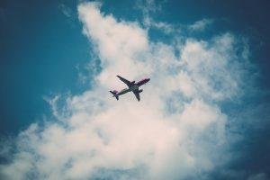 A plane in the air.