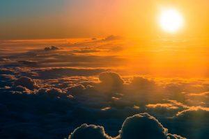 The sun above the clouds.